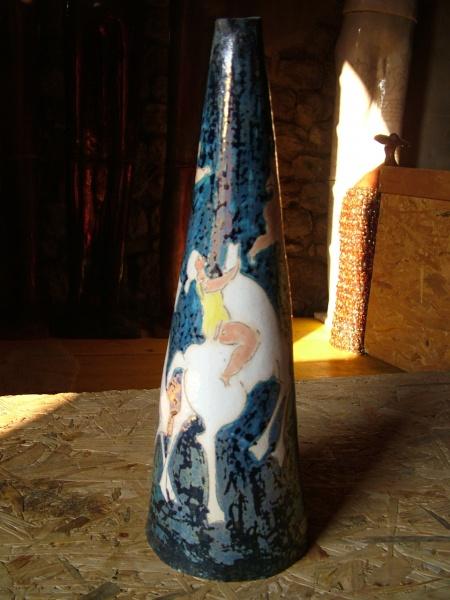 """Cone Vase   15.5"""" h x 5"""" x 5"""", ceramic"""