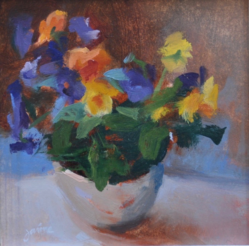 Riot of Pansies  6x6 oil on board