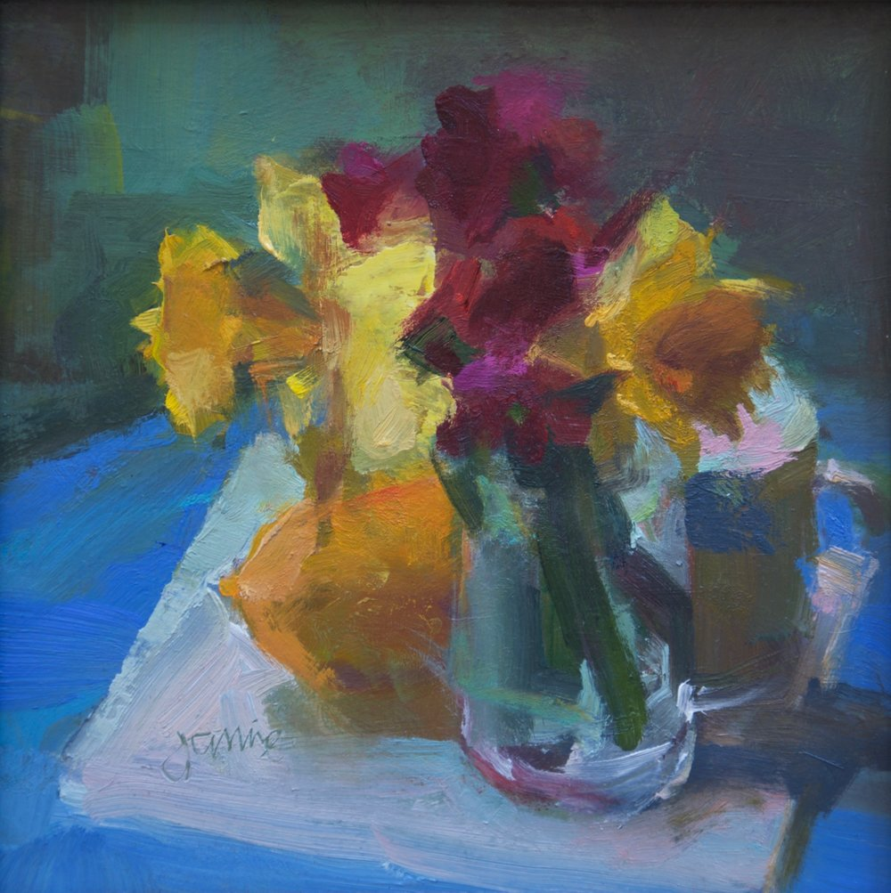 Daffodils, Lemon and Light  8 x 8 oil on board