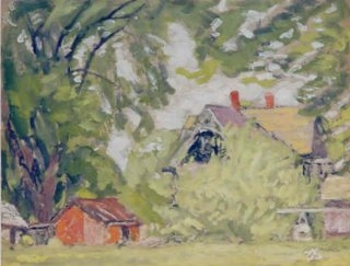 James Britton, The Orange Shed, North Manchester, 1935, 8 x 10 1:2 oil on board.jpg