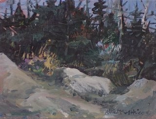 Kate McGloughlin %22Monhegan Trailhead%22 oil on paper, 5 3:8 x 7.jpg