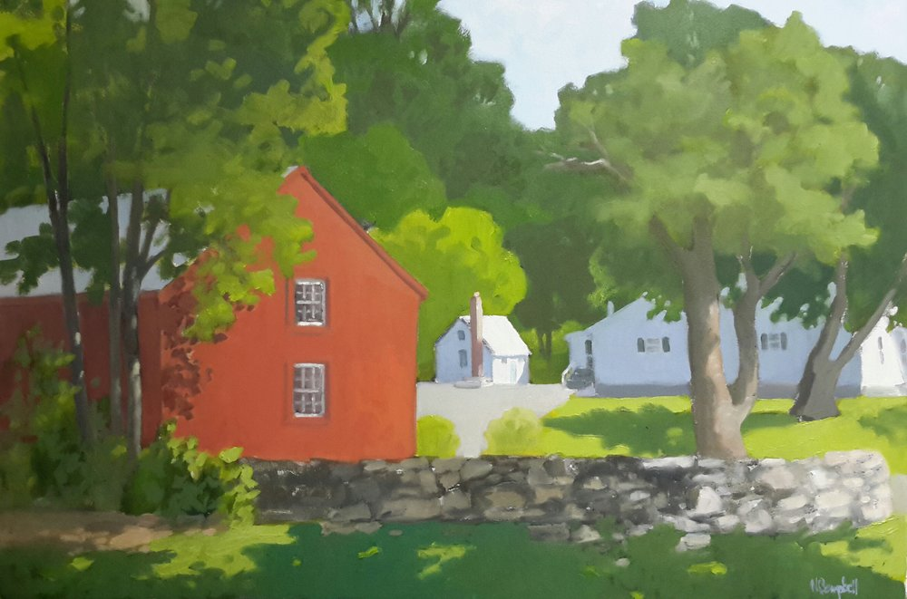 """Red Barn in Blue Mountain"" 28 x 36, oil on paper"