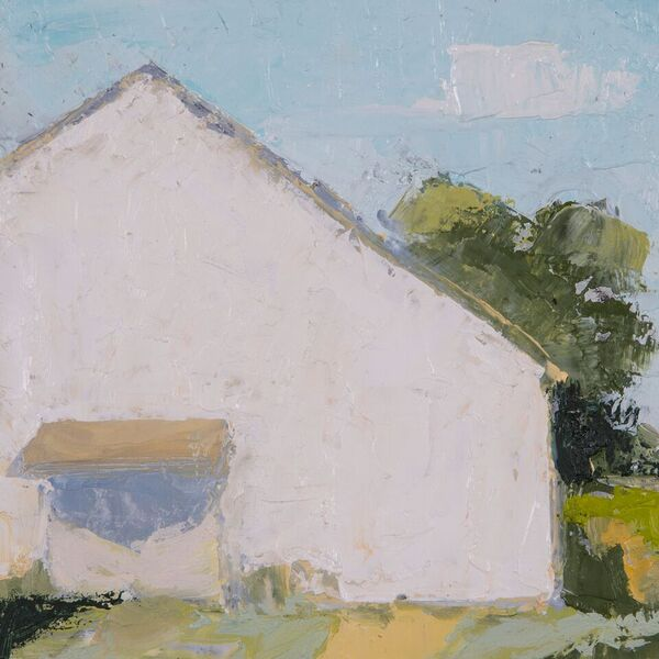 White Barn, 6 x 6, oil on canvas
