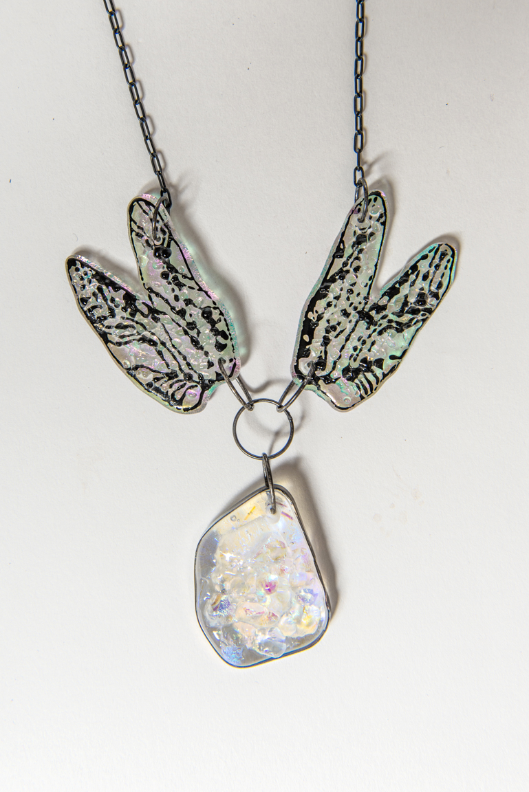 dragon flight  - pendant glass, sterling silver