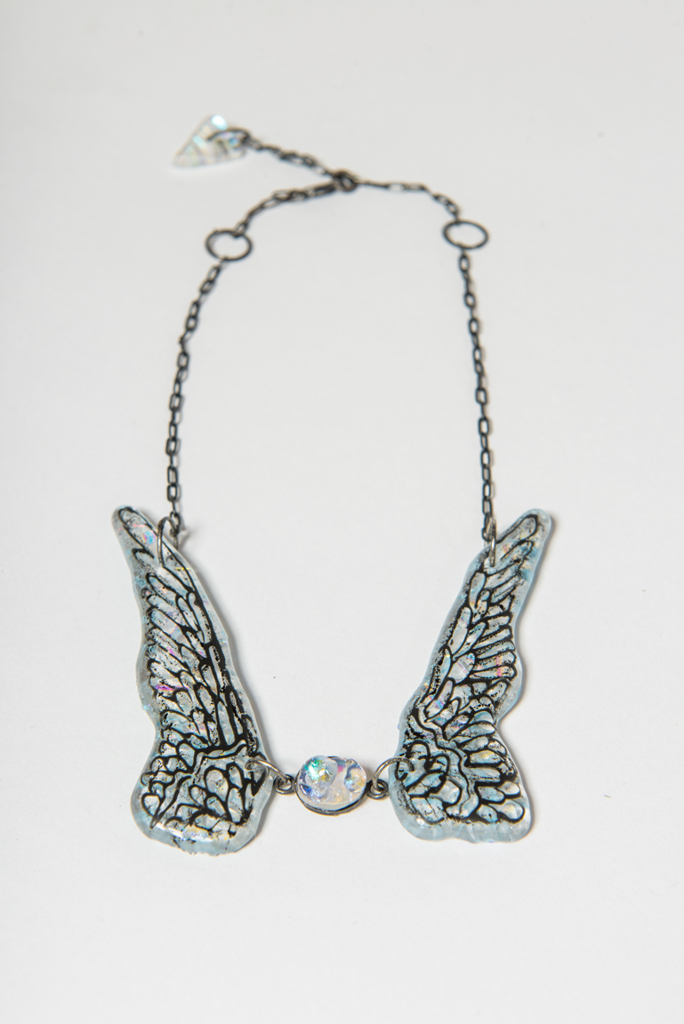 wing & stone - glass, sterling silver