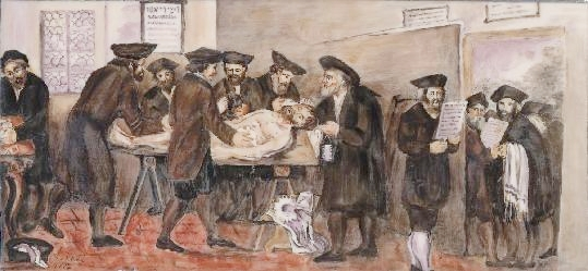 A painting of the Jewish burial society in Prague completed in the 1770s.