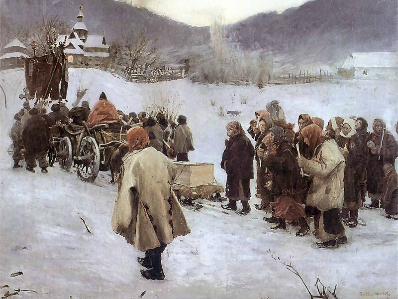 A burial in the Carpathian Mountains painted by Teodor Axentowicz in 1882.
