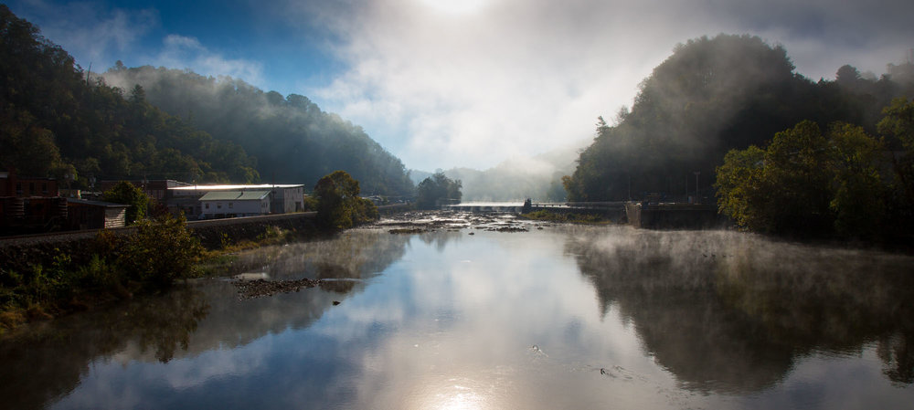 The French Broad River in Marshall, NC