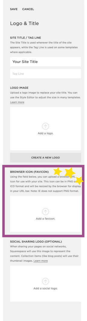 Where to find the favicon uploader in Squarespace