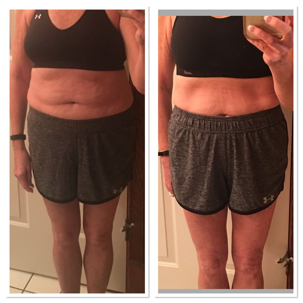 """Just wanted to let you know how thrilled I am with my results!!! I lost a total of 8.6 lbs. I was hoping for 5 lbs!!!! Total inches lost were 9.5!! So excited that my waist is down 2 1/2"". As you can see from my before & after pic! I went to my endocrinologist yesterday for my yearly visit! He told me all my levels were PERFECT!!! So excited!! I'm really going to continue the macro management & fasting. I'm finally at my ideal weight of 120! Thank you for all your help!! You've changed my life!!"""