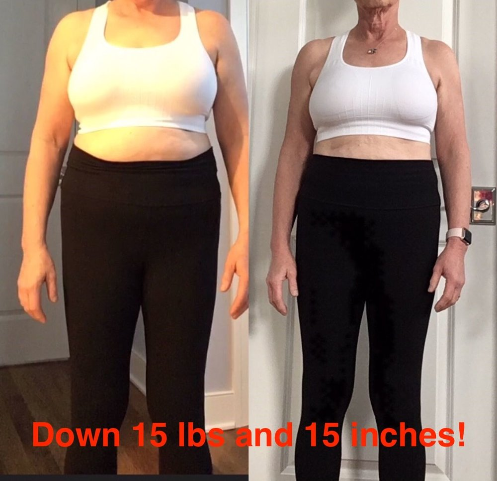 """I've been thrilled at the many changes I've seen and felt these last 7 weeks. I've lost 15.5 pounds. My ""Tanita"" scale, that has a body fat measurement, indicates a decrease of 5 points. Also the total inches lost is 15. I am sleeping better, have more energy and have had significant fewer days of feeling ""down"", even though we haven't seen the sun much this month. I do not do the exercises everyday. I have increased my activity level greatly, with twice weekly yoga and then one or two days of the workouts you provide and also walking. (At 63 there are exercises my knees can't take.) I am so grateful to have found your program. I don't want to become a fat old lady. I never thought I could feel and look so much better in such a short time. Also learned that so much of my eating is mindless, based on emotions and how quickly the calories/macros add up. Thanks again for all your teaching and encouragement."""