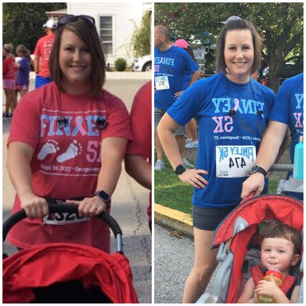 """Hi Amanda! I just wanted to say thank you, I feel like you have given me my life back. I had two babies almost back to back, they are 15 months apart in age. My youngest was born in May, 2017. The picture in red was the following September. I was miserable and I couldn't lose the weight regardless of what I did. I was running nightly at this point, but I felt like I was spinning my wheels. Fast forward to this past weekend, the picture in blue. I have had so many compliments lately about my weight, but most important I feel alive again!! I love your program and I thank you so much!! I am excited for the last half of my second round with you!"""