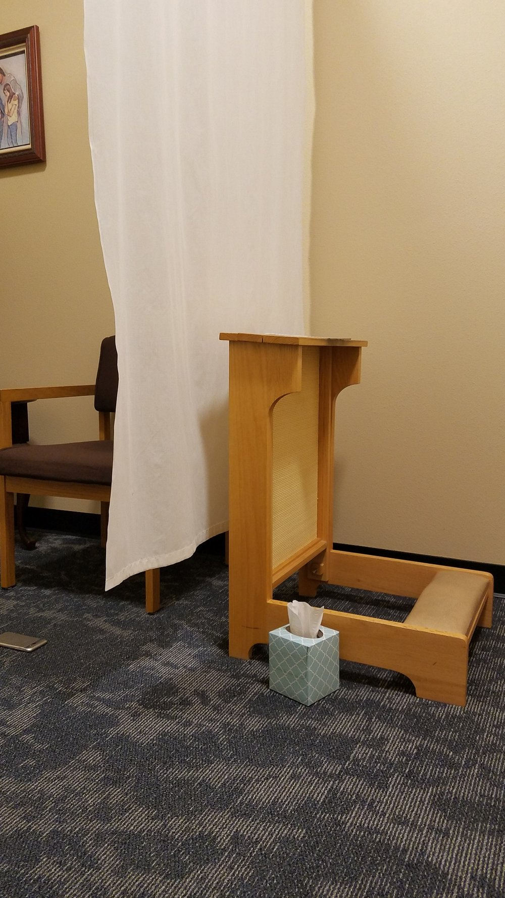 A typical confessional setup.