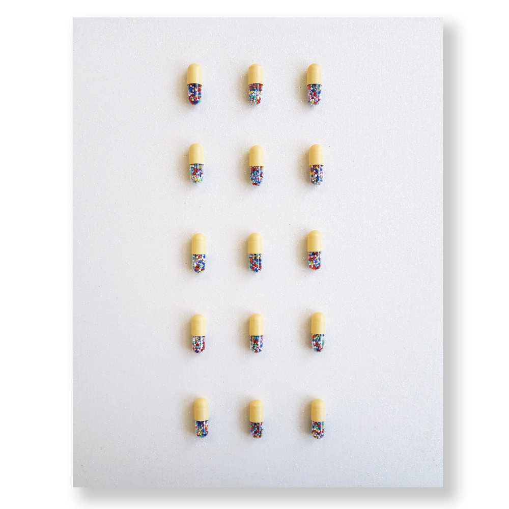 "Yellow Happy Pills on Diamond Dust  8"" x 10"""