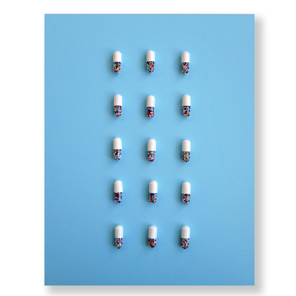 "White Happy Pills on Blue Panel  8"" x 10"""