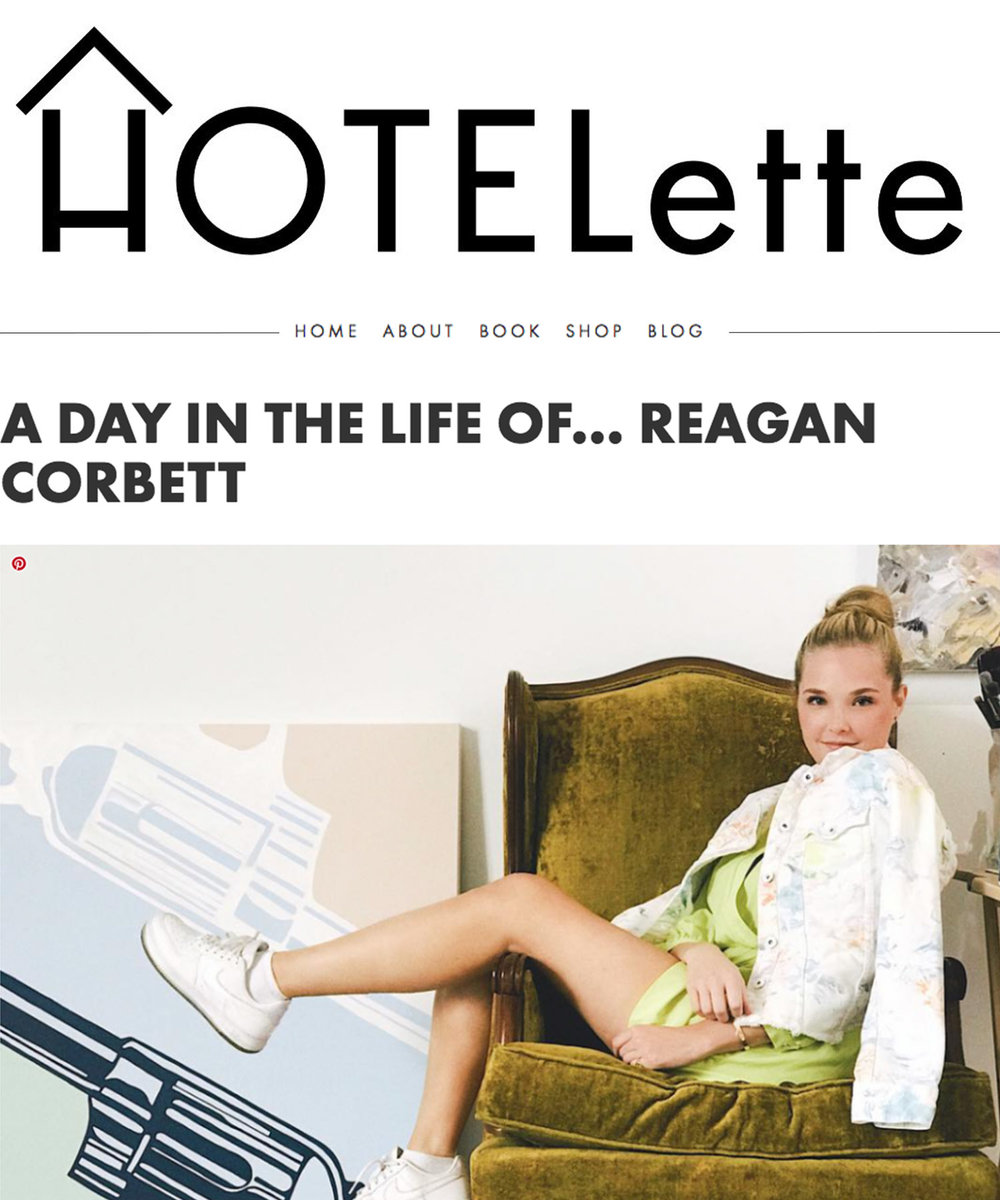 A Day In The Life Of…REAGAN CORBETT - The design process for HOTELette always begins around a piece (or pieces) or art, so it was a dream to host up-and-coming artist Reagan Corbett of ReagART at HOTELette Austin. Not only were we excited to connect IRL with our girl crush/artist crush, but to have her family take advantage of HOTELette exactly the way we have always envisioned: a home base that encourages friends and family to relax, lounge and feel at home.While she was in town, we caught up with her to talk ART, MORNING ROUTINES, and THE DAILY GRIND OF RUNNING AN ART EMPIRE.