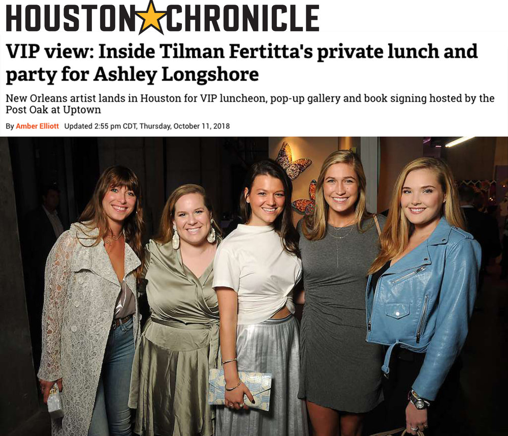 VIP view: Inside Tilman Fertitta's private lunch and party for Ashley Longshore - From left: Madison Britt, Georgie Ferrell, Regan Sobiesk, Mary Curry and Reagan Corbett at an art sale and party with Ashley Longshore at The Post Oak Hotel Thursday Oct. 04,2018.(Dave Rossman photo)