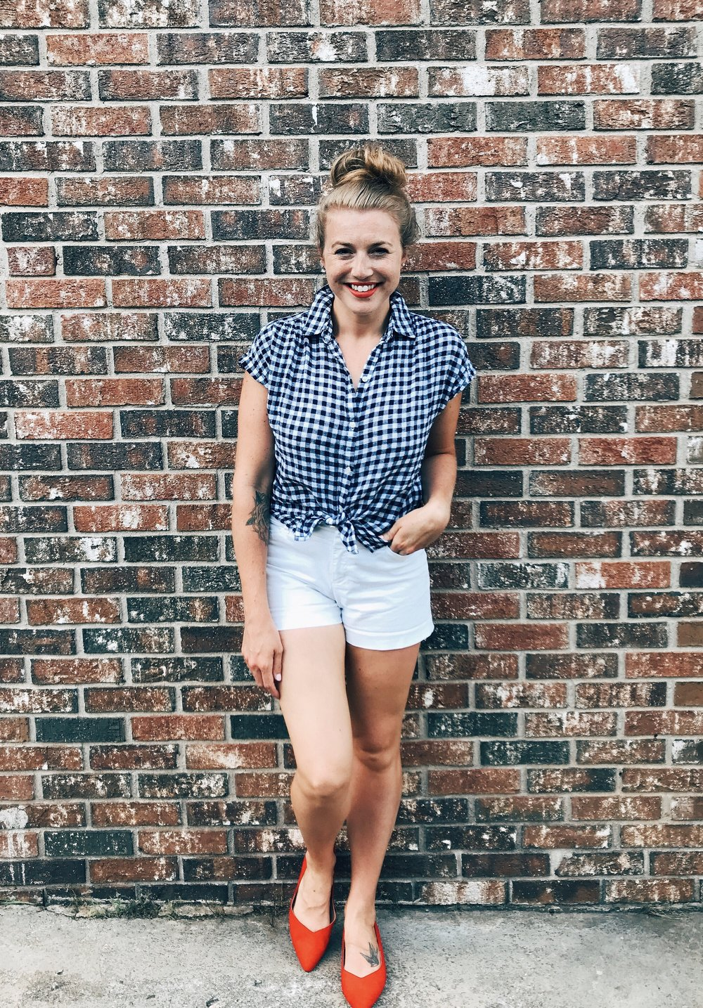 Gingham Button-Down  //  Shorts  //  Sweetheart Flats  //  Red Lipstick