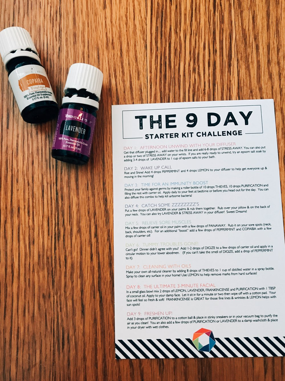 Here is a 9 Day Starter Kit Challenge. More way for you start using your kit right away!! Keep in mind, these are for  adults  and the  Young Living starter kit oils  specifically.