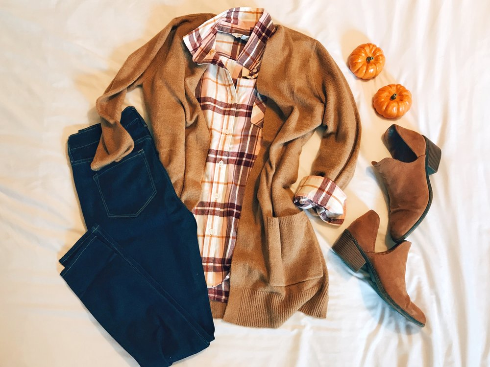 Plaid Tunic  |  Jeans  |  Cardigan  |  Booties