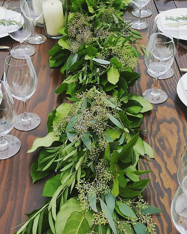 Luscious table garlands for the lovely couple. . . . #seattleflorist #vashonisland #vashonwedding #seattleweddings #seattleweddingflowers #weddinggarland #salal #slowflowers #laughinggirl #laughinggirlflowers