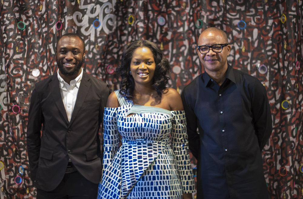 Emmanuel Iduma (Associate Curator), Adenrele Sonariwo (Lead Curator) & Victor Ehikhamenor .jpg