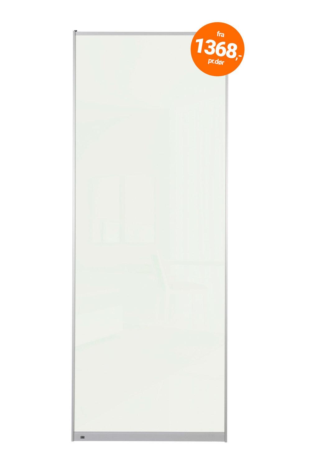 F7101 - Hvit glass   Bredde inntil 610mm - 1368,- pr.dør Bredde inntil 1020mm - 1872,- pr.dør Maks høyde 2500mm