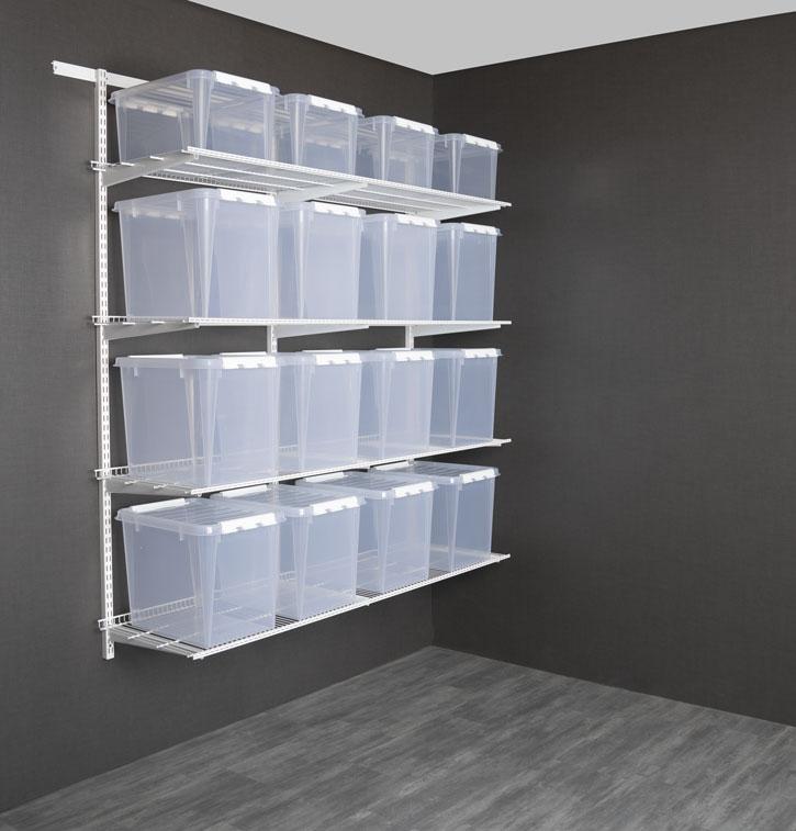 ADDERAbod og garasje pakkeløsninger - Fra kr. 2 347,-Ferdige komplette pakkeløsninger forvegghengt oppbevaring, inkludert bæreskinne,hengeskinner, knekter, trådhyller og oppbevaringsbokser.Finnes i både 50 cm og 40 cm dybde.Topp kvalitet med 15 års garantipå både veggsystem og bokser.