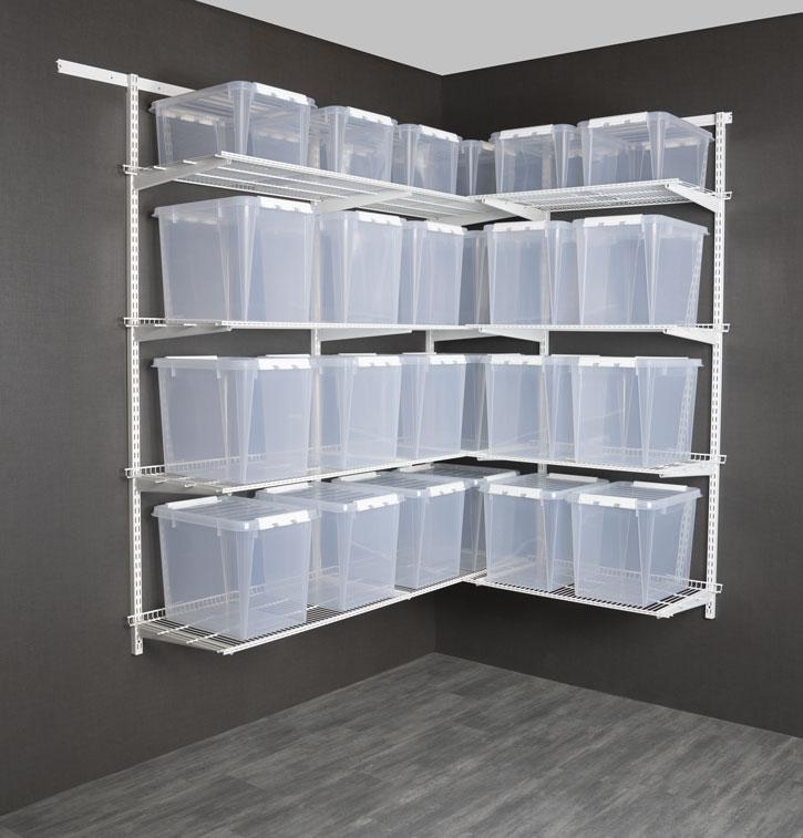 ADDERAbod og garasje pakkeløsninger hjørne - Fra kr. 6 618,-Ferdige komplette løsninger for hjørnemed vegghengt oppbevaring, inkludert bæreskinne, hengeskinner, knekter, trådhyller og oppbevaringsbokser.Finnes i både 50 cm og 40 cm dybde.Topp kvalitet med 15 års garantipå både veggsystem og bokser.