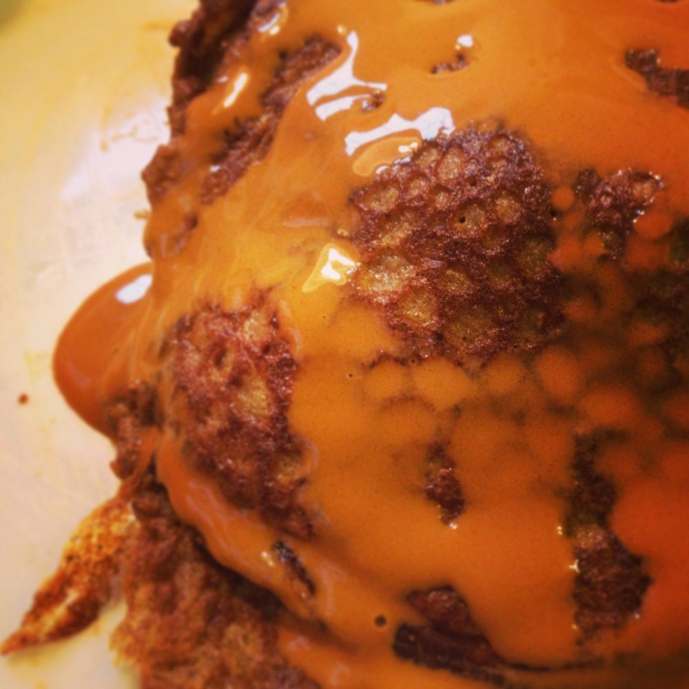 Pumpkin Pancakes with caramel drizzle