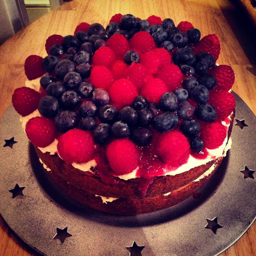 One very berry Victoria Sponge (with homemade berry coulis of course!)
