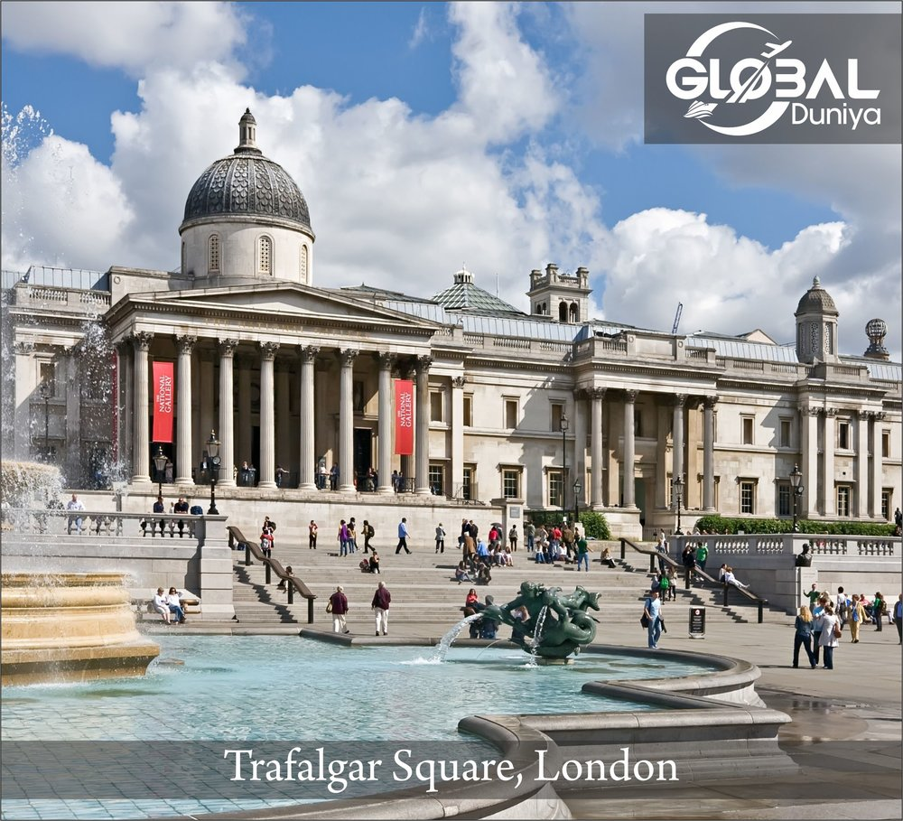 Trafalgar Square was designed by John Nash in the 1820s and constructed in the 1830s. It is both a tourist attraction and site for political demonstrations. Every December, Norway donates a marvelous Christmas tree to thank Britain for liberation from the Nazis.