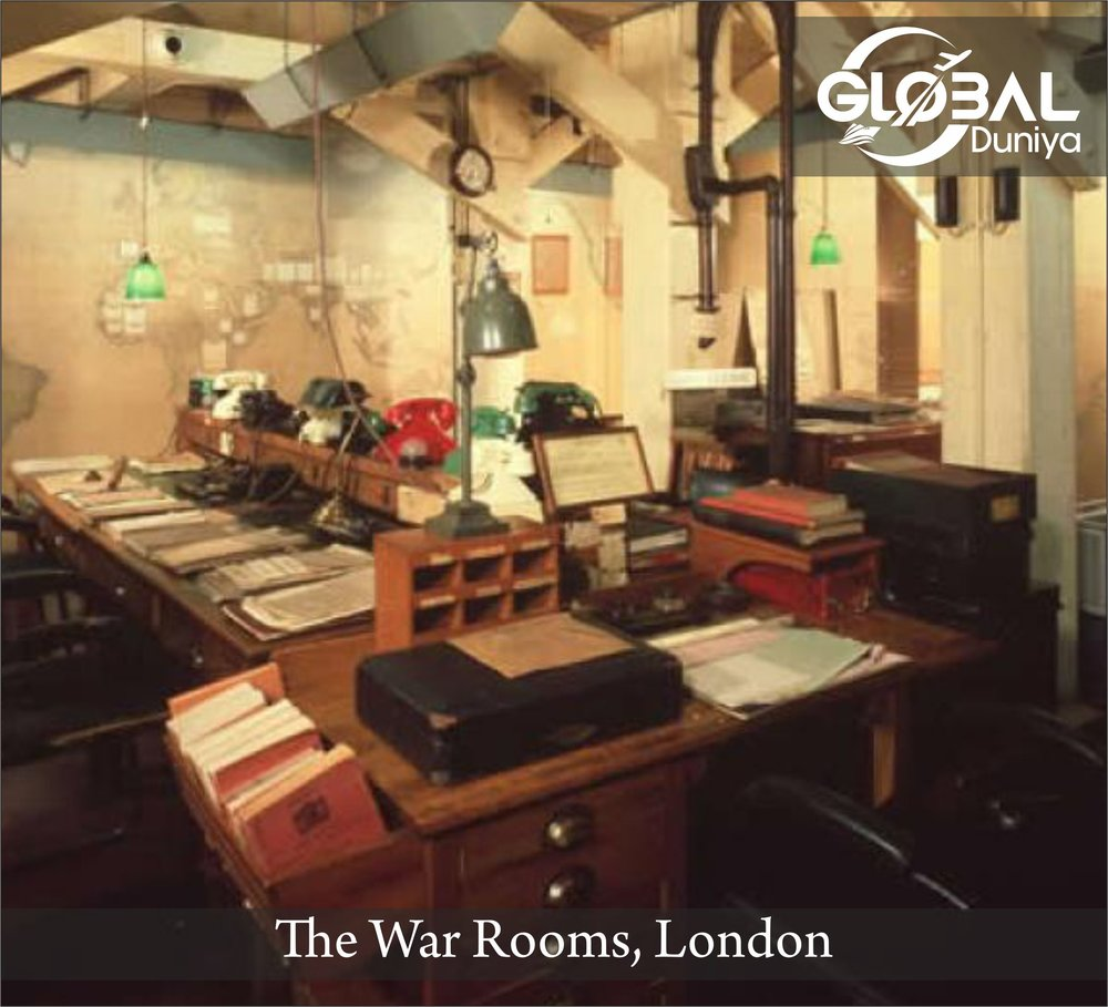 Among the most fascinating and evocative of London's historic sites is the perfectly preserved nerve-center from which Prime Minister Winston Churchill directed the British military campaigns and the defense of his homeland throughout World War II. Their Spartan simplicity and cramped conditions underline the desperate position of England as the Nazi grip tightened across Europe. You'll see the tiny cubicle where Churchill slept and the improvised radio studio where he broadcast his famous wartime speeches. Simple details, such as Clementine Churchill's knitting wool marking the front lines on a map of Europe, bring the era to life as no museum could possibly do.