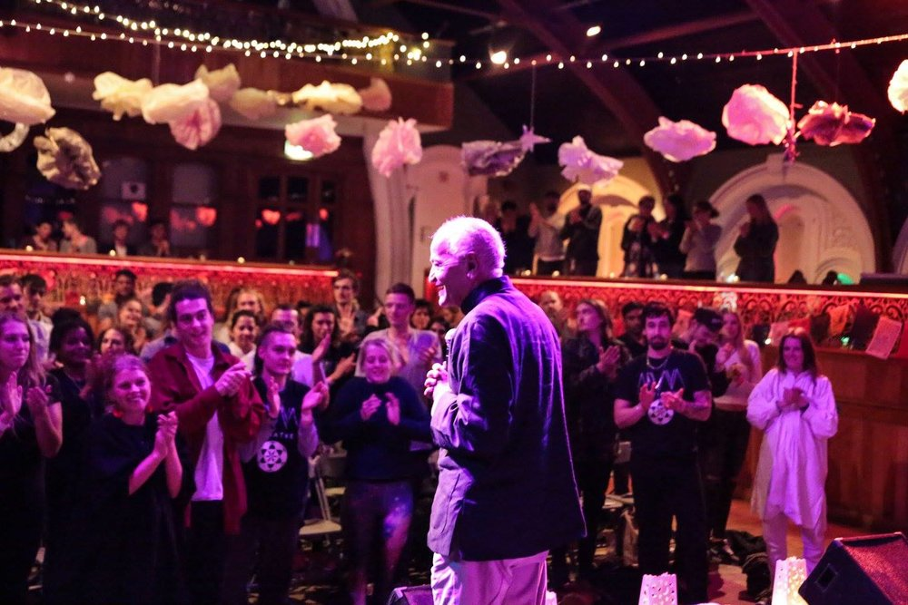 Satish Kumar speaking about 'Finding Your Purpose' at our Yoga and Ecology Festival at The Tabernacle in Notting Hill, with vegetarian food by Piccalilli Caff. 5 September 2015.