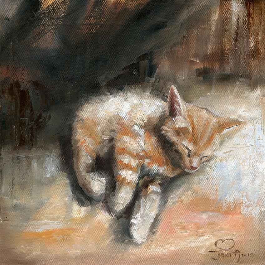 Kissanpentu_nukkumassa_taulu_kissataulu_kissataide.jpg