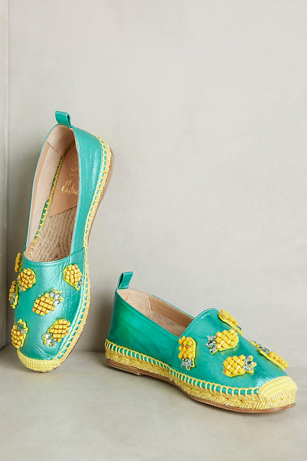 These fun shoes can be found at Anthropologie. -