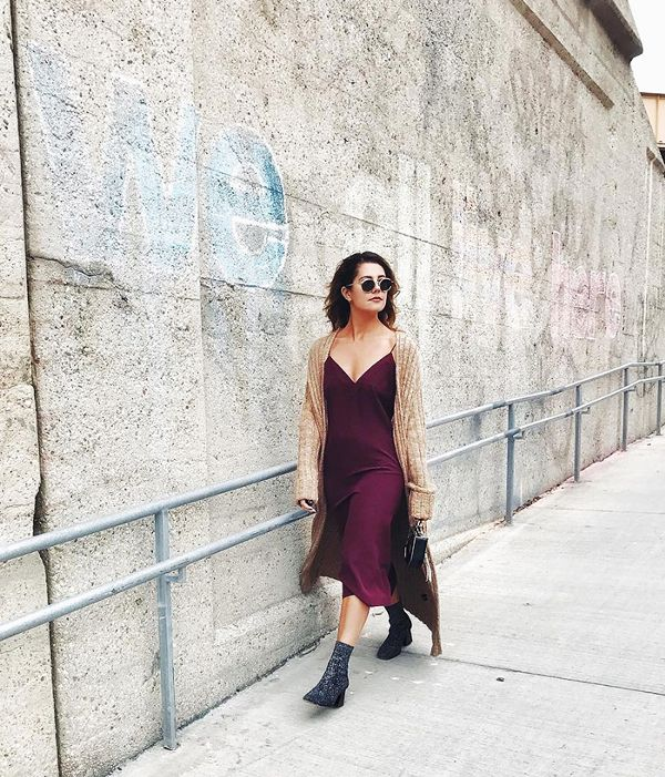 Pair a slip dress with boots or white sneakers.