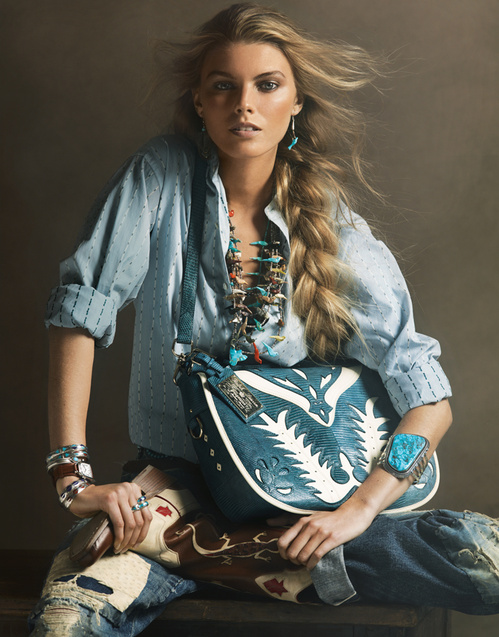 Pair your denim shirt and turquoise jewelry to add a southwestern flare to your wardrobe.