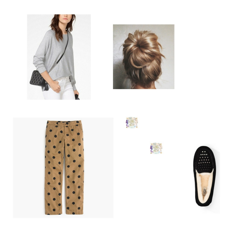 The sweater -  Michael Kors  $98, Chino boyfriend pants -  J Crew  $80, slippers -  Ugg  $130, earrings -  Kate Spade  $38.