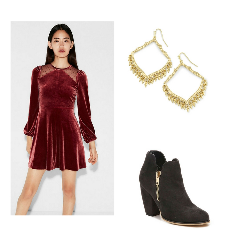 Dress -  Express  $48, boots -  DSW Shoes  $30, earrings -  Kendra Scott  $70.