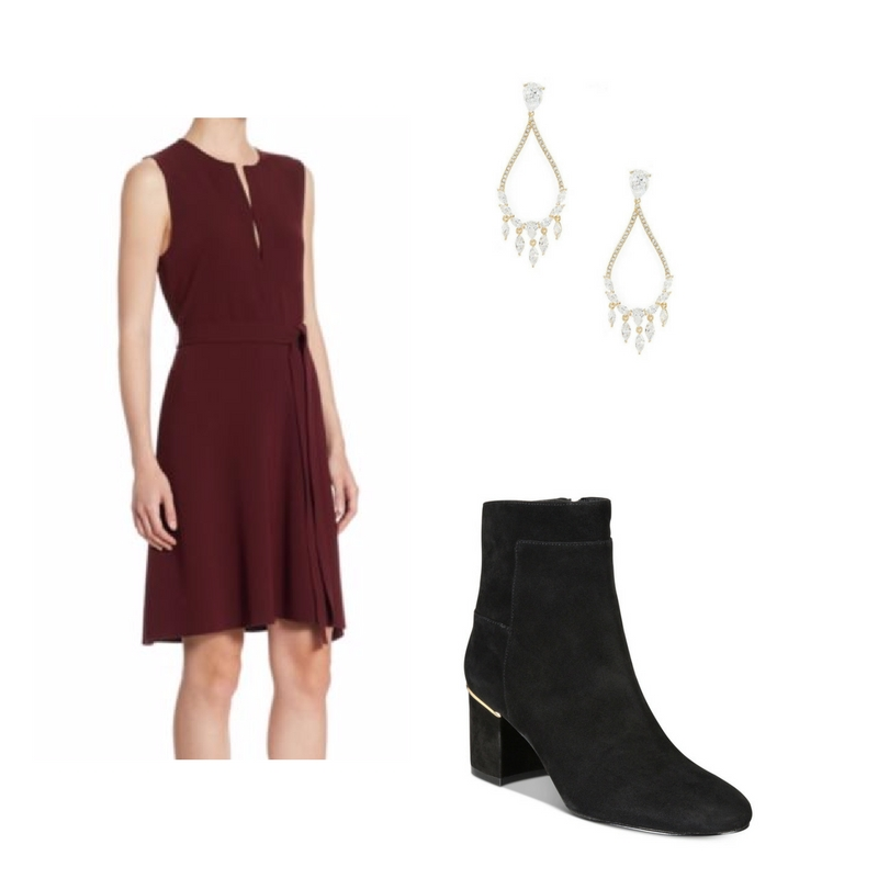 Dress -  Saks 5th Ave.  $207, boots -  Macy's  $280, earrings -  Dillard's  $110.