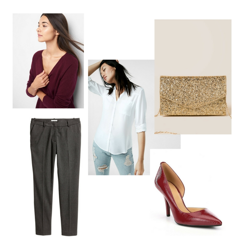 V-neck sweater -  Gap  $42, button down shirt -  Express  $50, tailored pants -  H&M  $30, Pumps -  Michael Kors  $60, glittery bag -  Francesca's  $38.