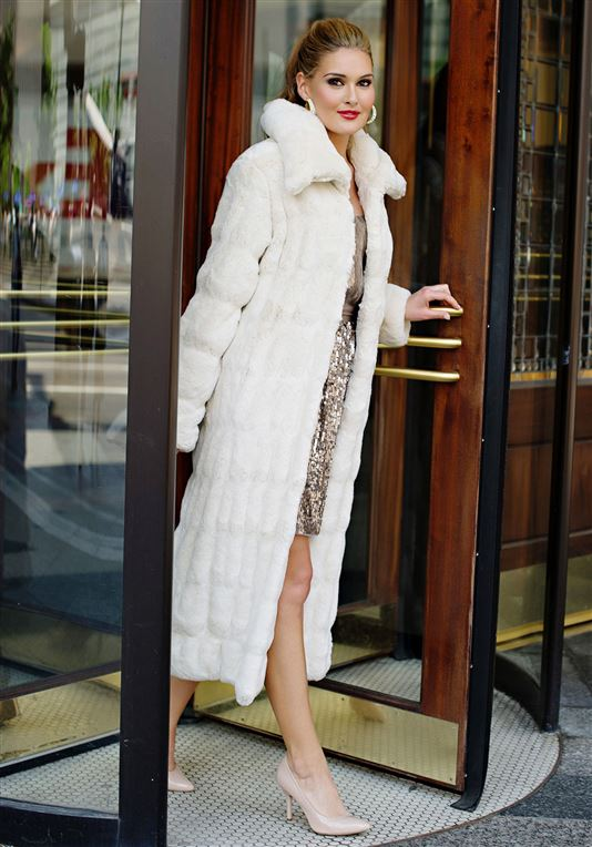 Ivory Mink Couture Faux Fur Coat  $700.