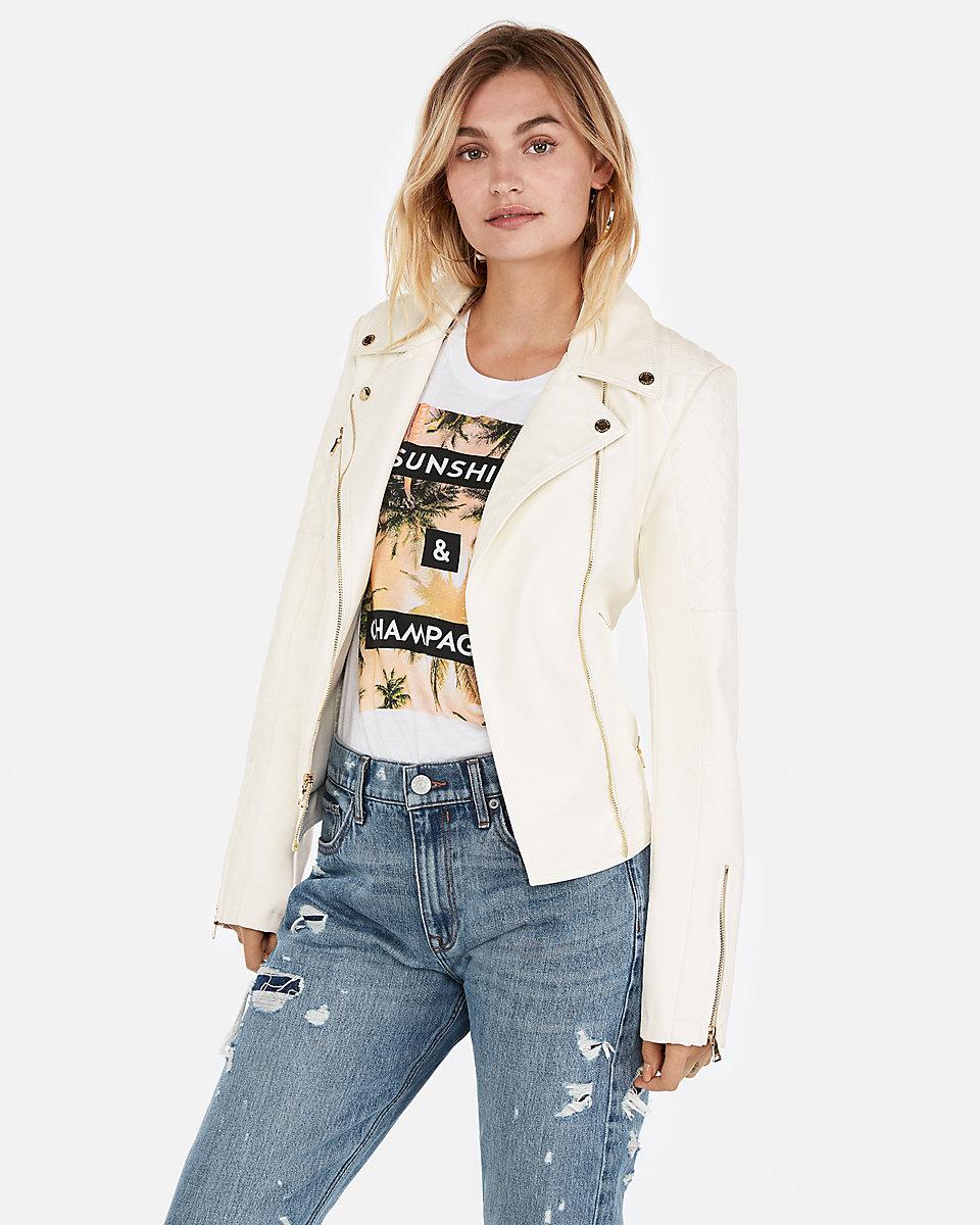 Express Ivory Moto Jacket $148