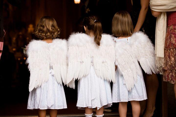 The flower girls in angel wings