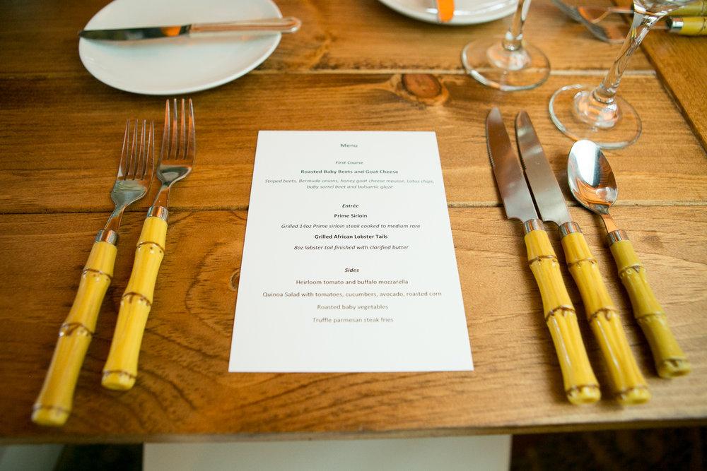 A close up of the custom menus designed for the birthday celebration