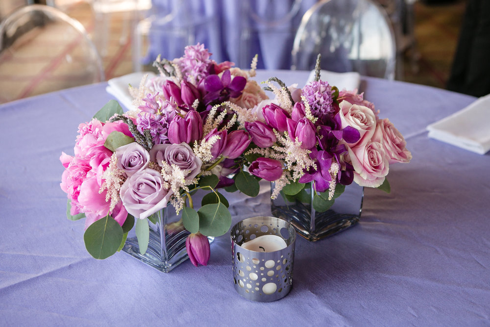 Stunning floral center pieces at client's Bat Mitzvah