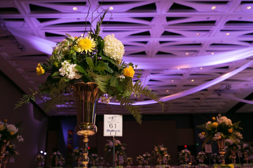Floral arrangement details at The Promise Ball at the Hartford Convention Center