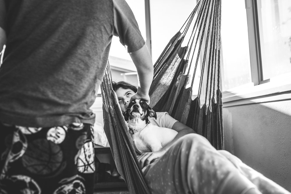 Black and white photo of a young girl sitting in a hammock swing in her kitchen, holding her small black and white dog, looking up at her younger brother as he reaches down to pet their dog.