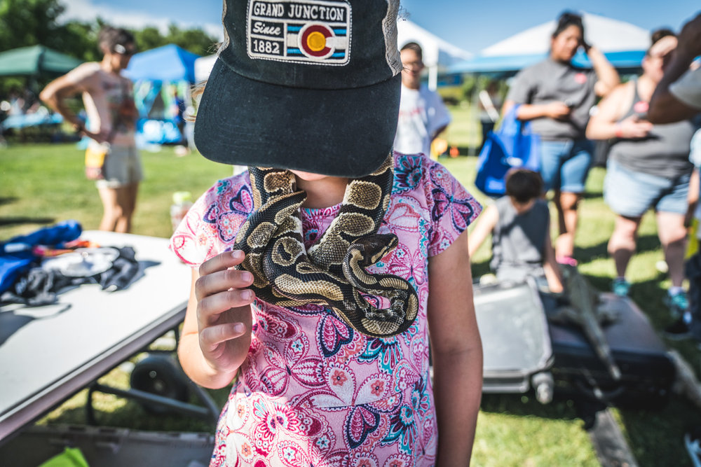 Little girl in a pink shirt and Colorado flag baseball cap wearing a live snake around her neck like a necklace